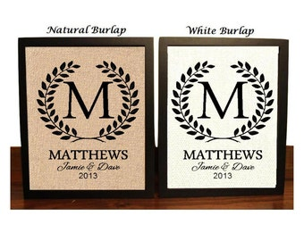 Burlap Monogram, Monogrammed Gifts, Personalized Wedding Gift for Couple, Gift for Bride, Wedding Gift Last Name Est, Engagement Gift