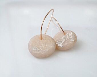 Girlfriend gift earrings, rose gold hoops, minimal earrings, pink earrings, polymer clay jewelry, dangle earrings, modern earrings