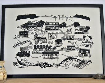 East Port, Isle of Muck - Handmade Papercut Picture