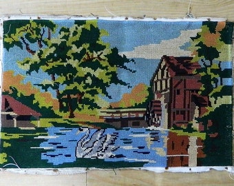swan tapestry wall hanging tapestry vintage french needlepoint canvas tapestries made in france