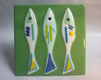 Hand Made Fused Glass Wall Art, Fish