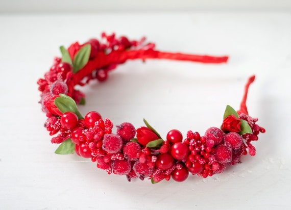 Red berry crown  / red tulip flower crown / Vinok / ukrainian accessory / wedding crown / flower girl / bride headpiece / fabric flowers