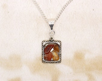 Carnelian Chips In Resin Cabochon Pendant On Silver Plated Necklace