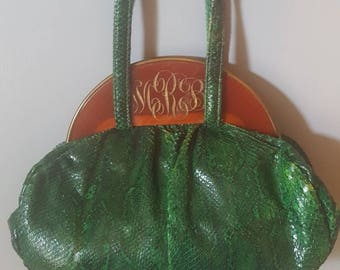 1930s Green Snake Skin and Lucite Purse By Bass - Payment Plans Available!