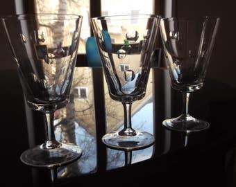 Crystal Wine/Aperitif Glasses 3 Fine Cut Polka Dot Design - Vintage German