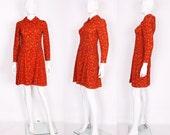 1960s Red and Orange Leaf Print Mini Dress