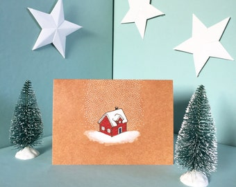 Little red house christmas card
