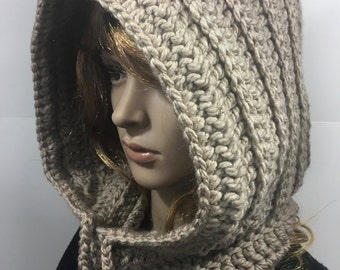 Knit Hood, Hooded Scarf, Crochet Cowl, Hood Scarf,  Crochet Hood Scarf, Knit Cowl  Color : Taupe