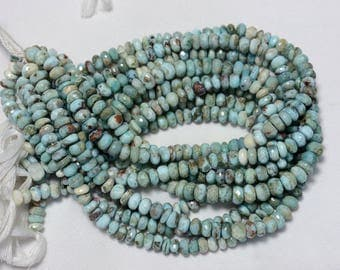 Larimar Cut Rondelle Beads, Larimar Faceted Rondelle Shape Briolettes, Gemstone For Jewelry, 8mm, 7 Inches Strand