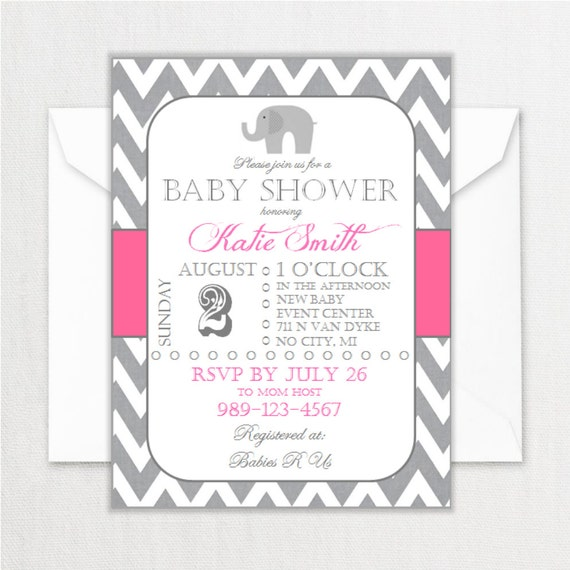 elephant baby shower invitations pink and gray chevron circus baby