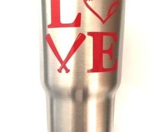 Baseball Love Decal Sticker For Yeti RTIC Rambler Tumbler Cooler