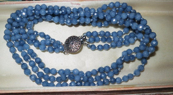 Lovely 3 strand raw natural 4mm Brazilian aquamarine knotted necklace