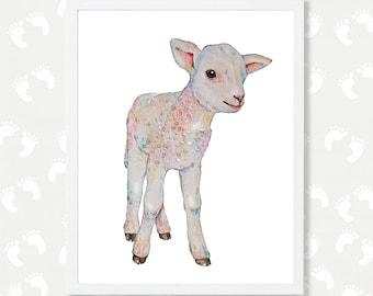 Lamb Nursery Art Lamb Painting Lamb Print Sheep Watercolor Painting Farm Animal Print Baby Sheep Watercolor Lamb Art Barnyard Baby Animal