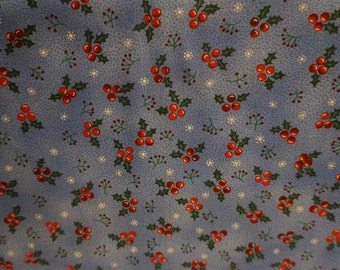 Christmas Village Holly Berries (Blue background); sold by the yard