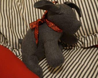 Handmade Sensory-Friendly Softie - The Blank Puppy (Light Gray/Red & Black Ribbon)