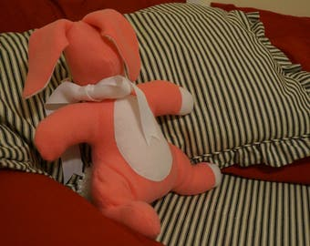Handmade Sensory-Friendly Softie - The Blank Bunny (Large Pink/White Ribbon)