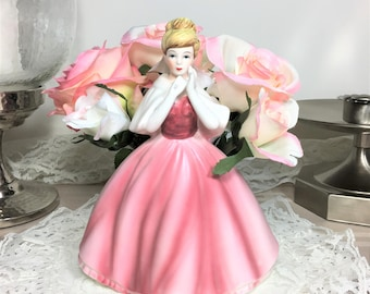 Vintage Victorian Lady Figurine Planter/Vase, Enesco, Pink, Victorian Decor, Enesco Planter