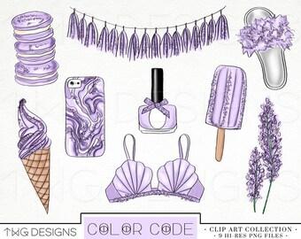 Lavender Fashion Clip Art Glitter Watercolor Clipart PNG files Hand Drawn Pastel Flatlay Flowers Tassel Banner Ice Cream Nail Polish Macaron