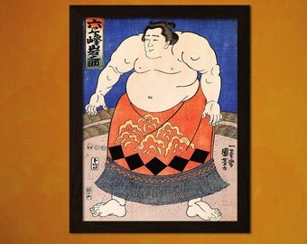 FINE ART REPRODUCTION Japanese Art Print Sumo Wrestler Utagawa Kuniyoshi Ukiyo-e Fine Art Print Retro  Decor  Decor Design