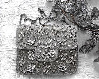 Silver Embellished wedding clutch evening clutch bridal clutch bridesmaid clutch party clutch prom clutch bridesmaid gift