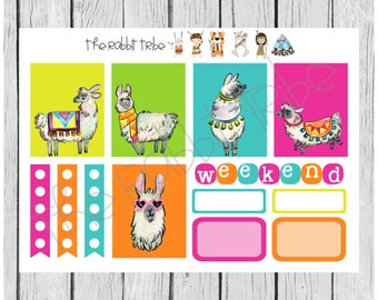 Weekly sticker set - happy llamas - planner stickers
