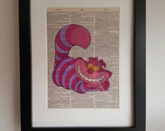 Cheshire Cat - Framed Dictionary Print. Ideal Unusual Christmas Present