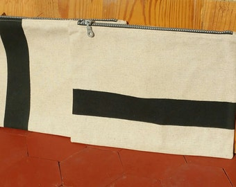 Pouch SUMMER canvas cotton/linen and painted band by hand, zip
