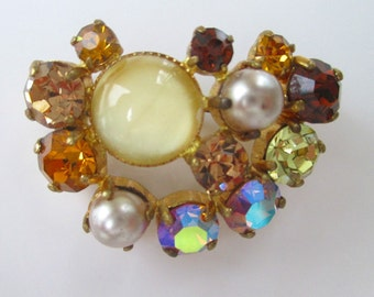 Rhinestone Pin/Brooch * Amber * Topaz * Pale Yellow * Faux Pearl * Sparkly Aurora Borealis * Freeform Shape * Classic Vintage * Gift For Her