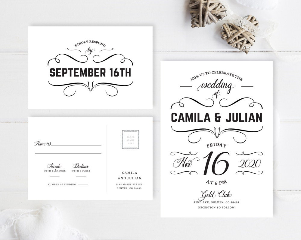 Cheap Cardstock For Wedding Invitations : Vintage wedding invitation set printed / Simple wedding