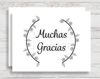 Muchas Gracias Printable, Spanish Thank You Card, Black and White, Greeting Card, Digital Download Card, Print at Home, DIY Gracias Card