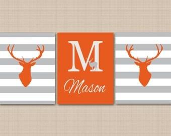 Deer Nursery Wall Art Orange Gray Nursery Wall Art Orange Gray Stripes Deer Art Deer Antler Wall Art Deer Nursery Decor-UNFRAMED  3 C129