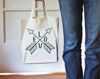 Tote Bag, Love Arrows Tote, Canvas Tote Bag, Gift Bag, Cotton Bag,Gift for Her,Canvas Bag for Women,Grocery Bag,Printed Bag,Market Bag