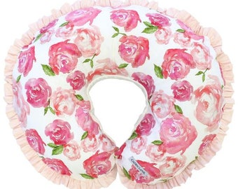 Harlow's Floral  | Floral, Pink, Blush, Pastel, Sweet, Watercolor Baby Girl Ruffled Nursing Pillow Cover