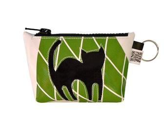 Keychain Coin Purse & Key////////black cat accessory Happycat vegan//eco design//cruelty free//comunicareineco