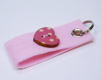 Key ring pink with button in heart shape and points in white, trailer key ring pendant Keychain heart Valentine's day