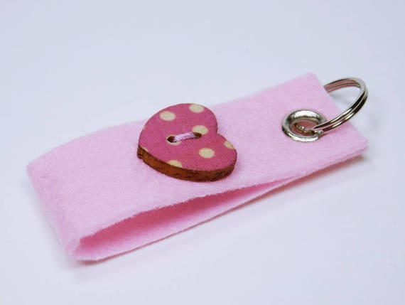 Keychain Pink with knob in heart shape and dots in white, pendant key ring pendant for keychain Heart Valentine's Day