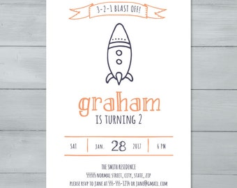 Rocket Birthday Party Invitation  |  Spaceship Invitation  |  Space Rocket Invite