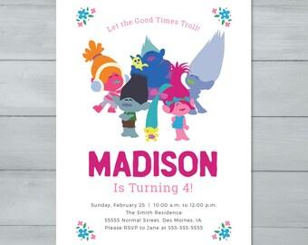 Trolls Birthday Party Invitation  |  Trolls Birthday Invite  |  Poppy, Branch, Smidge, Biggie, DJ Suki, Guy Diamond Birthday Invitation