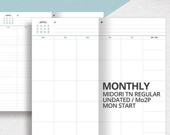 Midori Travelers Notebook Regular Size Insert/Mo2p/Printable undated Monthly Planner Insert/Monthly Scheduler/Monthly Calendar