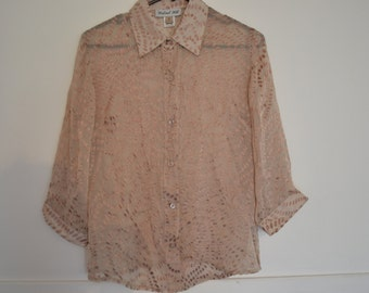 VINTAGE Silk shirt Sheer 3/4 sleeve Loose fit Made in Australia size 10 Textured Button down