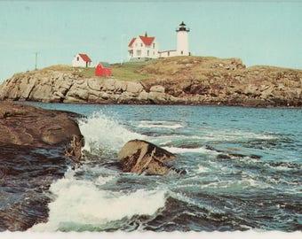 Vintage lighthouse postcard - Nubble Light, York Beach, ME