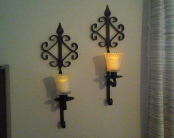 Black Iron Candle Sconces, Homco Metal Sconces with Votive Holders