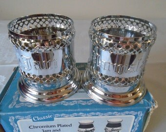 Jam and Marmalade holders ,chromium plated in original packaging