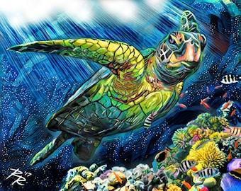 Sea Turtle Art, Ocean Painting, Turtle Art Print