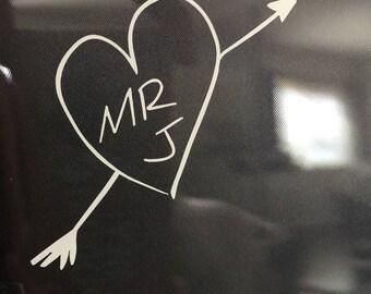Harley Quinn Tattoo  Heart Mr. J Heart Puddin  Joker  Suicide  Squad  Love   Cute  Puddin  Vinyl  Sticker  Decal