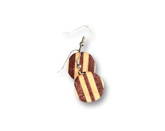 Wood Earrings (Purple Heart, Basswood) Custom Handmade