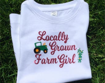Locally Grown Farm Girl Shirt, Farm Girl, Kid Farm Clothes