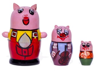 3.5'' Set of 3 Little Pigs Wooden Russian Nesting Dolls- SKU # nds03006
