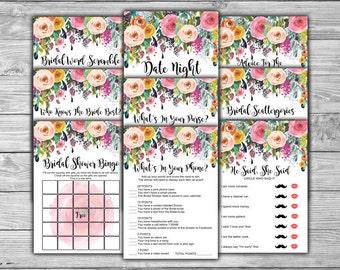 Floral - Bridal Shower - Games Package - Nine Games - PRINTABLE - INSTANT DOWNLOAD - 9 Floral Bridal Shower Games - L08