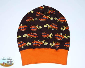 Beanie, beret, KU, 47-50 turtle turtle brown orange
